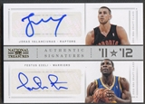 2012/13 Panini National Treasures #73 Festus Ezeli & Jonas Valanciunas 11 vs. 12 Signatures Gold Auto #10/25