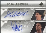 2003/04 SP Authentic #SRA John Stockton & David Robinson Signatures Dual Auto