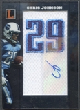 2008 Topps Letterman #ANPCJ Chris Johnson Jersey Number Patch Auto #04/75