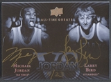 2013 Upper Deck All-Time Greats #JVSLB Michael Jordan & Larry Bird Jordan Vs. Signatures Auto #11/23