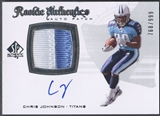 2008 SP Authentic #288 Chris Johnson Rookie Patch Auto #768/999