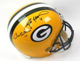 Bart Starr & Brett Favre Autographed Green Bay Packers Full Size Helmet (Mounted Mem)