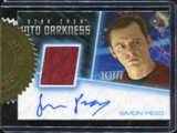 2014 Rittenhouse Star Trek Movies Uniform Relics Simon Pegg Autograph issued as 6-case incentive