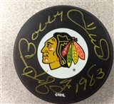 Bobby Hull Autographed Chicago Blackhawks Hockey Puck