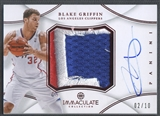 2012/13 Immaculate Collection #BG Blake Griffin Red Jumbo Patch Auto #02/10