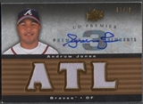 2008 Upper Deck Premier #AJ Andruw Jones Premier Remnants Triple Jersey Auto #01/25