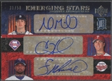 2007 Upper Deck Premier #MHL Andrew Miller Cole Hamels Francisco Liriano Emerging Stars Triple Auto #31/50