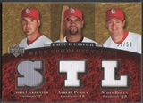 2007 Upper Deck Premier #CPR Chris Carpenter Albert Pujols Scott Rolen Rare Remnants Triple Jersey #31/50