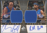 2004/05 SP Game Used #BH Chauncey Billups & Richard Hamilton Authentic Fabrics Dual Jersey Auto #43/50