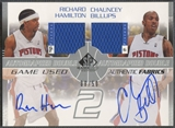 2003/04 SP Game Used #RHCBAJ Richard Hamilton & Chauncey Billups Authentic Fabrics Dual Jersey Auto #39/50