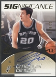 2003/04 SP Game Used #EG Manu Ginobili SIGnificance Gold Auto #08/10