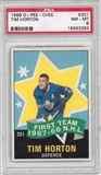 1968/69 O-Pee-Chee Hockey #201 Tim Horton All Star PSA 8 (NM-MT) *3383