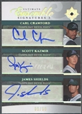 2006 Ultimate Collection #CKS Carl Crawford Scott Kazmir Jamie Shields Ensemble Signatures Triple Auto #09/50