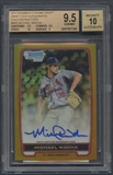 2012 Bowman Chrome Draft #MW Michael Wacha Draft Pick Gold Refractor Rookie Auto #40/50 BGS 9.5