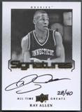 2013 Upper Deck All-Time Greats #ATGRA4 Ray Allen Signatures Auto #28/40