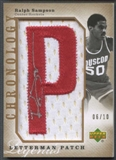 "2006/07 Chronology #185 Ralph Sampson Letterman Gold Letter ""P"" Patch Auto #06/10"