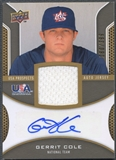 2009 Upper Deck Signature Stars #CO Gerrit Cole USA Star Prospects Jersey Auto #080/399