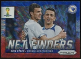 2014 Panini Prizm World Cup Net Finders Prizms Blue and Red Wave #4 Edin Dzeko