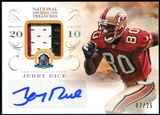2013 Panini National Treasures Hall of Fame 50th Anniversary Signature Materials Prime #26 Jerry Rice 7/25