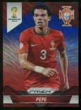 2014 Panini Prizm World Cup Prizms Blue and Red Wave #156 Pepe