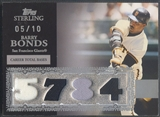 2007 Topps Sterling #CS17 Barry Bonds Career Stats Relics Quad Jersey #05/10