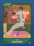 2007 Bowman Chrome #217 Tim Lincecum Blue Refractor Rookie #042/150