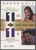 2001/02 Upper Deck Honor Roll #124 Jason Richardson Kobe Bryant Jersey #0017/1000