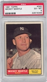 1961 Topps Baseball #300 Mickey Mantle PSA 6 (EX-MT) *5346
