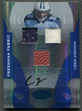 2008 Leaf Certified Materials #213 Chris Johnson Mirror Blue Rookie Shoe Ball Jersey Auto #034/100