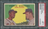 1959 Topps #212 Hank Aaron & Eddie Mathews Fence Busters PSA 7 (NM) *3585