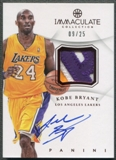 2012/13 Immaculate Collection #KB Kobe Bryant Red Patch Auto #09/25
