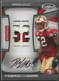 2009 Certified #110 Patrick Willis Fabric of the Game Jersey Number Patch Auto #09/10
