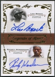 2011 Leaf #DU9 Lou Brock & Rickey Henderson Legends of Sport Auto #2/5