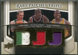 2007/08 Upper Deck Premier #JJB Michael Jordan Magic Johnson Larry Bird Rare Patches Triple Gold Patch #06/10