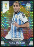 2014 Panini Prizm World Cup Prizms Yellow and Red Pulsar #7 Pablo Zabaleta