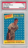 1958 Topps Baseball #494 Warren Spahn All Star PSA 5 (EX) *7847
