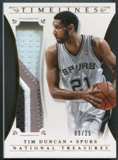 2013/14 Panini National Treasures #8 Tim Duncan Timelines Materials Prime Patch #09/25