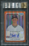 2011 Bowman Chrome 18U USA National Team #18U15 Clate Schmidt Orange Refractor Rookie Auto #08/25 BGS 9