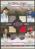 2007 Playoff National Treasures #9 Tom Landry Roger Staubach Hank Stram Len Dawson Material Quad Jersey #03/25