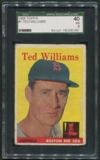 1958 Topps Baseball #1 Ted Williams SGC 40 (VG) *2001