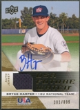 2009 Upper Deck Signature Stars #30 Bryce Harper USA National Team Future Watch Rookie Jersey Auto #301/899
