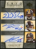 2006 Upper Deck Exquisite Collection Signature Trios #PRJ Willie Parker/Willie Reid/Omar Jacobs Autograph /15