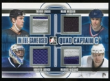 2013-14 In the Game ITG Used Captain C Quad Jerseys Silver #QCC08 Trevor Linden/Mark Messier/Roberto Luongo/Ma
