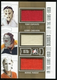 2013-14 In the Game ITG Used Decades Triple Jerseys Silver #D22 Tony Esposito/Gerry Cheevers/Bernie Parent /60