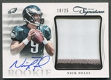 2012 Prime Signatures #9 Nick Foles Rookie Jumbo Materials Patch Auto #18/25