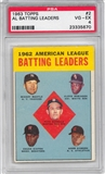 1963 Topps Baseball #2 AL Batting Leaders PSA 4 (VG-EX) *5670