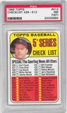 1969 Topps Baseball #412 Checklist 426-512 PSA 7(ST) (NM) *5684