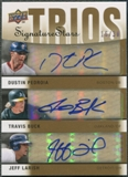 2009 Upper Deck Signature Stars #PBL Jeff Larish Dustin Pedroia Travis Buck Auto #16/30
