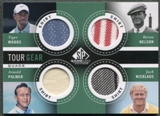 2014 SP Game Used #TG4NWNP Jack Nicklaus Tiger Woods Byron Nelson Arnold Palmer Tour Gear Quad Shirt