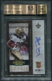 2013 Panini Contenders #154A Khiry Robinson Rookie Cracked Ice Auto #18/21 BGS 9.5